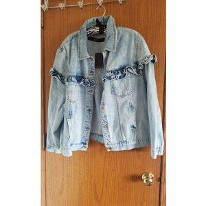NWT Ruffle Denim Jacket